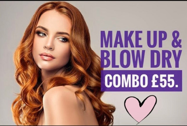 make up and blow dry
